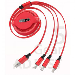 KABEL USB 3w1 GUMOWY ZWIJANY CZERWONY