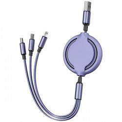 KABEL USB 3w1 GUMOWY ZWIJANY FIOLETOWY